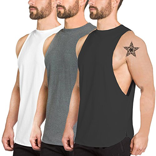 PAIZH Men 3 Pack Fitness Workout Tank Tops Gym Cotton Tshirts Sleeveless