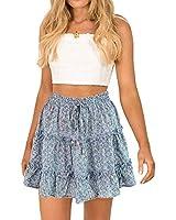 Alelly Women's Summer Cute High Waist Ruffle Skirt Floral Print Swing Beach Mini Skirt?- Blue