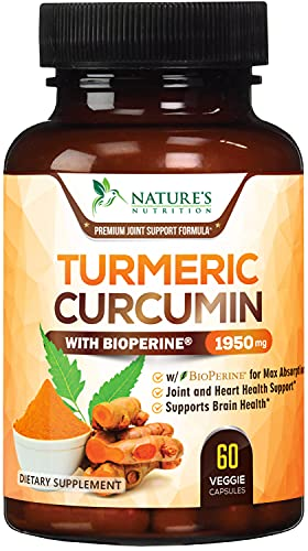 Turmeric Curcumin Highest Potency 95% Curcuminoids 1950mg with BioPerine Black Pepper for Ultra High Absorption  Made in USA  Best Vegan Joint Support by Natures Nutrition - 60 Capsules