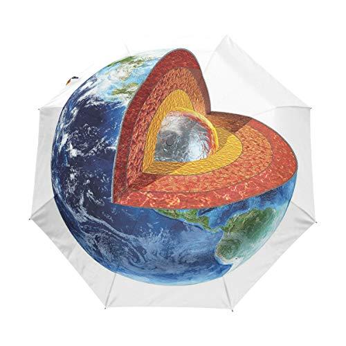 SUHETI Regenschirm Taschenschirm,Erdbild, das den inneren Kern Geologie und Wissenschaftsthema Planeten Globus Druck zeigt,Auf Zu Automatik,windsicher,stabil