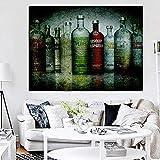 Impresión digital botella de vodka absoluta sobre lienzo pintura al óleo mural arte imagen cartel...