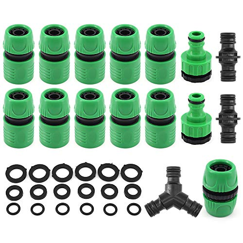 ShawFly Hose Connector Fitting Set Pack Pack Plastic Garden Hose Tap Connector Kit for Join Garden Hose Pipe Tube (Vert)