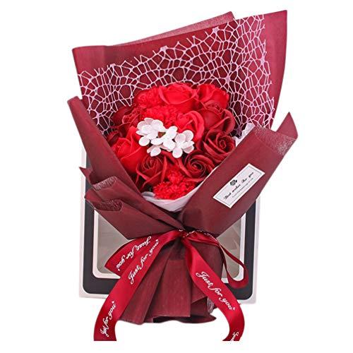 PRETYZOOM Kunstbloem Roos Boeket Zeep Bloemboeket Bruiloft Handgebonden Eeuwige Bloem Desktop Decor Voor Diy Ambachtelijke Moeders Vaders Dag Cadeau (Rood)