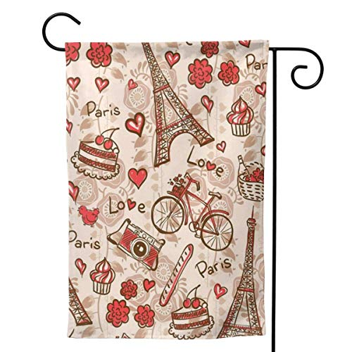 Zome Lag Paris-Eiffelturm-rotes Thema-Liebes-Beeren-Kuchen-Kamera-Fahrrad-Garten-Flaggen-Vertikale doppelseitig S