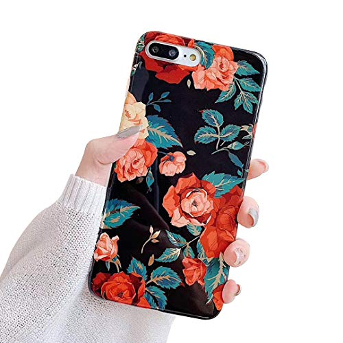 Oihxse Cover per iPhone 6 iPhone 6s Trasparente Cover,Cover iPhone 6 6s Protettiva in Silicone Sottile Morbido Clear Silicone Custodia Protettivo TPU Gel Flessibile Case per iPhone 6 6s (fiori-1)