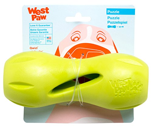 West Paw Zogoflex Qwizl Interactive Treat Dispensing Dog Puzzle Treat Toy for Dogs, Granny Smith, Large