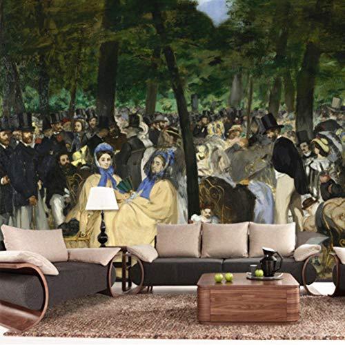 Pbbzl Aangepaste modern fotobehang tv-achtergrond muurschildering Monet olieverfschilderij tuin onder de muzikale sfeer schilderij behang 280 x 200 cm.
