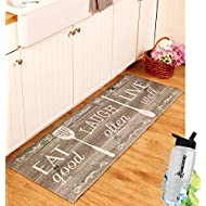 """Gift Included- 55"""" PVC Kitchen Cushion Floor Runner Eat Laugh Live Decorative Rug Decor + FREE Bonus Water Bottle by Home Cricket"""