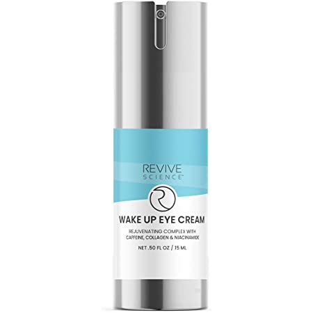 Revive Science Eye Cream with Collagen, Caffeine, Vitamin K to Reduce Dark Circles, Puffiness, Wrinkles, Fine Lines, Under Eye, Bags, Crows Feet - Anti Aging Eye Serum for Men & Women, 0.50 oz