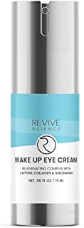 Revive Science Eye Cream with Collagen, Caffeine, Niacinamide for Dark Circles, Puffiness, Wrinkles, Fine Lines, Under Eye, Bags - Anti aging Eye Serum for Men & Women (15 ML)