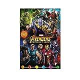 MMJH Póster de Los Vengadores Infinity Wars, cuadro decorativo, lienzo para pared, sala de estar, póster, dormitorio, pintura, 50 x 75 cm