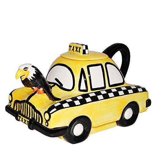 alles-meine.de GmbH 3-D Design - Gießkanne - Deko Kanne  gelbes Taxi Auto  - mit Deckel & Henkel - für 2 Liter - stabil aus Porzellan / Keramik - edel - Fahrzeug New York NYC Y..