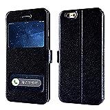 GHC Fundas & Covers para iPhone 7 8 6s Plus X, de Lujo de la Ventana Delantera del Cuero de FILP Ver Funda para iPhone XR XS Plus MAX 6 5s 4s SE (Color : Negro, Material : For iPhone 7 Plus)