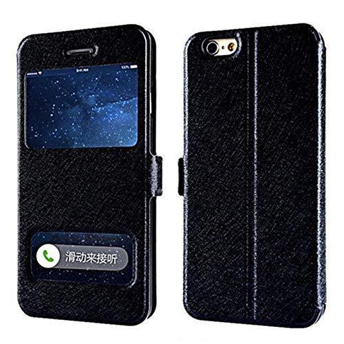 GHC Fundas y fundas para iPhone 7, 8, 6S Plus X, de lujo, con ventana frontal, tapa de piel, para iPhone XR, XS, Max, 6 Plus, 5S, SE 4S (color: negro, material: para iPhone XS X)
