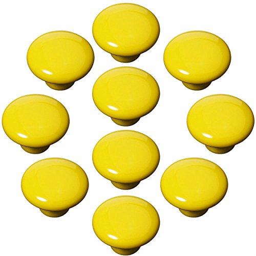 FBSHOP(TM) 10x33mm Gelb Porzellan Möbelknöpfe Griffe Knauf MöbelKnopf Tür für Schränke, Schubladen, Truhen, Schlafzimmer, Badezimmer ,Kindermöbel Schubladengriffe Dekorative