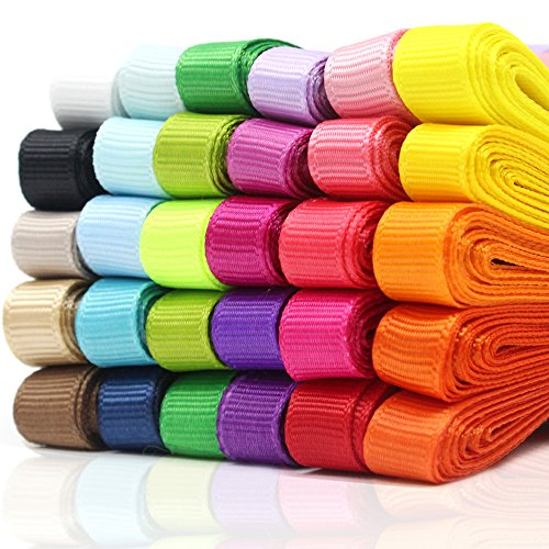 Ribbons 60 Yards Grosgrain Ribbons Fabric Ribbons, 3/8 Inches 30 Colors, Boutique Ribbons for Gifts Wrapping, DIY Bow Hair Accessories