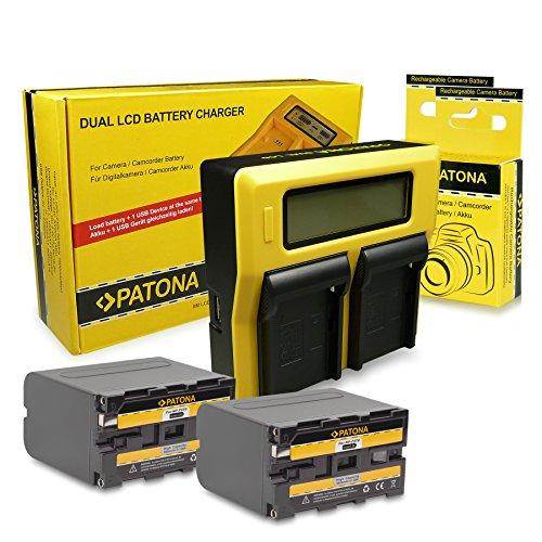 PATONA LCD Cargador Doble y 2 Baterías NP-F970 Compatible con Sony Camcorder CCD-TR1, CCD-TR200, CCD-TR3000, CCD-TR416