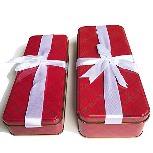 Christmas Cookie Tins with Lids For Gift Giving Empty Candy Treats Ginger Snaps Swap Containers Snack Exchange Box Cerebrate a Holiday Goodies Party Favors Set of 2 Red Elegant Rectangular Boxes