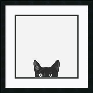 Framed Wall Art Print Curiosity (Cat) by Jon Bertelli 22.25 x 22.25