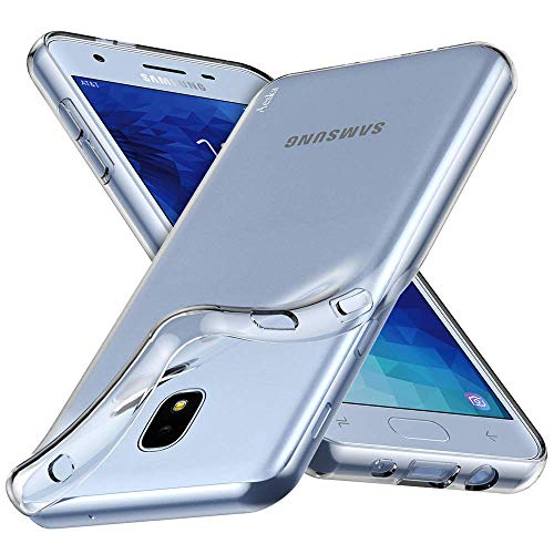 Aeska Galaxy J3 2018/J3 Achieve/Galaxy Express/J3 Eclipse 2/J3 Orbit/J3 Star Case, Flexible TPU Silicone Protective Case Cover for Samsung Galaxy J3 2018 (Clear)