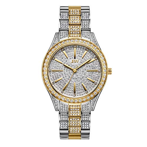 JBW Luxury Women's Cristal-34 J6383D 0.12 ctw 12 Diamond Two-Tone Wrist Watch with Stainless Steel Bracelet, 34mm