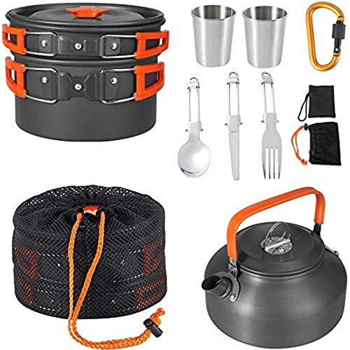 Camping Cookware Kit,Homgen Popular Camping Cook Set Family Cooking Mess Kit Camping Pot Pans Kettle Cookware Anodised Aluminium Camping Cookware Mess Kit for 2-3 People Perfect for Picnic Hiking etc