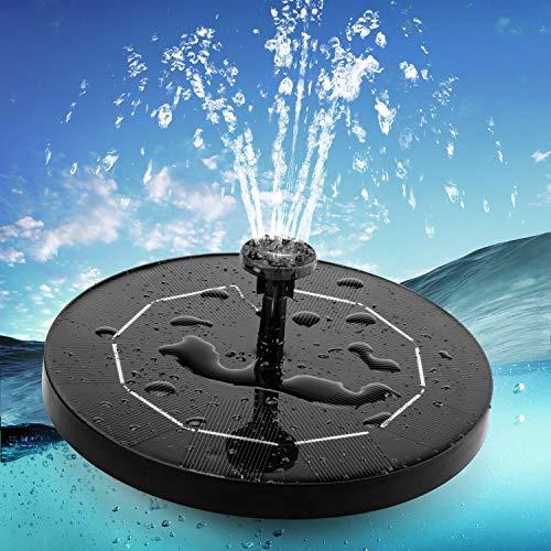 Aidodo Fuente solar de 3,5 W, bomba de estanque con panel solar, batería de 1500 mAh, bomba de agua solar flotante con 6 estilos de fuente, para estanques de jardín o fuentes, baño de pájaros