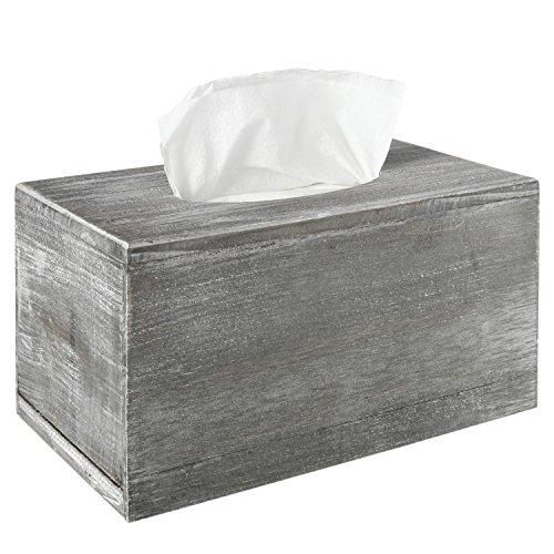 Envejecido gris madera facial caja de pañuelos tapa del soporte, dispensador de servilletas