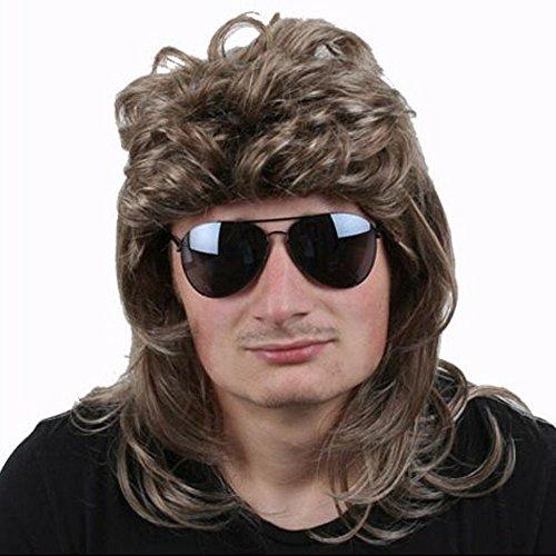 TE-Trend 80er Vokuhila Perücke Herren Proll Macho Star Haarteil dunkelblond Fasching Karneval Kostüm Zubehör
