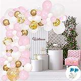 Evance 128pcs kit Ballon Blanc Confettis Or Ballon Guirlande kit de Ballons en Latex Pack avec Bande de Ballon pour Anniversaire Mariage Fond fête décoration Fournitures (128pcs kit)