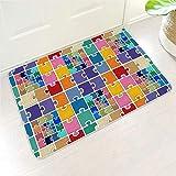 IOVEQG Puzzle Original - Felpudo rectangular de bienvenida impermeable para mantener tus suelos limpios con respaldo de goma para entrada frontal, color blanco