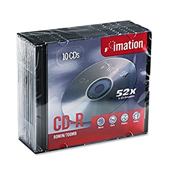 Imation IMN17332 CD Recordable Media CD-R 52x 700 MB 10 Pack Jewel Case