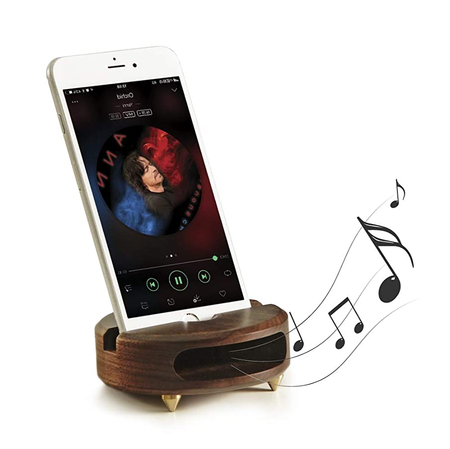 Mate2GO Phone Stand Sound Amplifier, Wood Phone Stand for Desk, Desktop Phone Stand, Handmade Wooden Smartphone Tablet Holder Dock Compatible with iPhone, Samsung, LG, Kindle and Tablets - Walnut