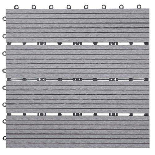 Mendler WPC Bodenfliese Rhone, Holzoptik Balkon/Terrasse, 11x je 30x30cm = 1qm linear - Basis, grau