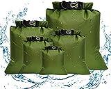 Aesy Bolsa Estanca, Bolsa Impermeable, Bolsa Seco, Ligero, Ultra Ligero, para Kayak, Senderismo, Viaje, Bicicleta, Surf, 5 Juegos (1.5L / 2.5L / 3.5/4.5L / 6L) (Verde)