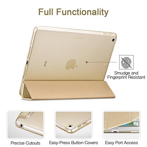 ESR iPad 2017 iPad 9.7 Zoll Hülle, Ultra Dünn Cover Auto aufwachen/Schlaf Funktion Smart Case Wickelfalz Ledertasche mit Lichtdurchlässig Rückseite Abdeckung Schutzhülle für iPad 9.7 2017 (Gold) - 9