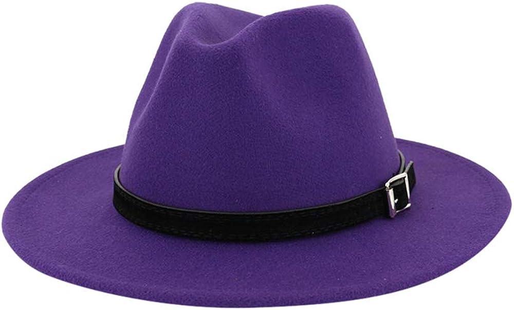 Aniywn Men & Women Vintage Top Hat Wide Brim Floppy Hat Fedora Hat with Belt Buckle