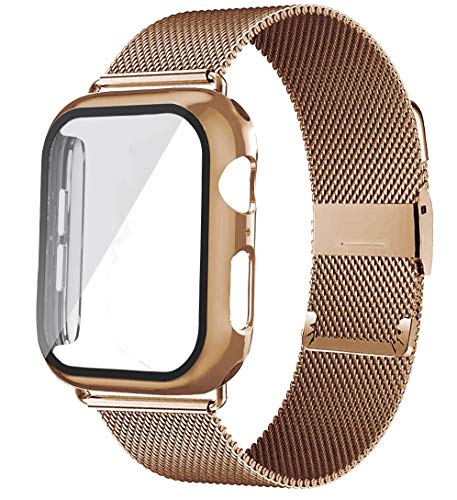 CMXXFA Vidrio+carcasa+correa para correa de reloj de 44 mm, 40 mm, 38 mm, 42 mm, correa de metal milanés para reloj Series 6 5 4 Se (color de la correa: oro rosa, ancho de la correa: 44 mm)