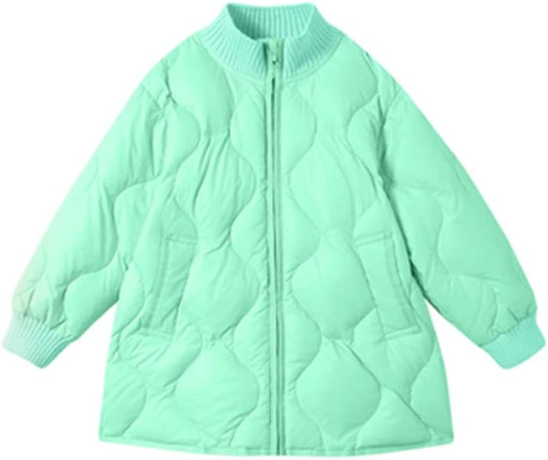 Girl's Puffer Down Jacket Hooded Winter Coat Lightweight Padded Down Coat Winter Warm Down Jacket (Color : Green, Size : 90)