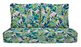"""RSH Décor Indoor Outdoor Deep Seating Loveseat Cushion Set, 1- 46"""" x 26"""" x 5"""" Seat and 2- 25"""" x 21"""" Backs, Choose Color (Vida Opal Blue Pineapple)"""