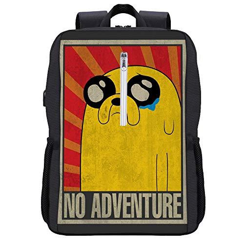 Adventure Time No Adventure Soviet Rucksack Daypack Bookbag Laptop Schultasche mit USB-Ladeanschluss