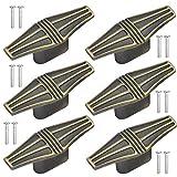 Chstarina 6 Piezas Bronce Pomas de Puerta 65mm Tiradores de Muebles de Vintage Pomos de Tirador con 12 Tornillos para Muebles Cajones Puertas Armarios de Baño de Cocina