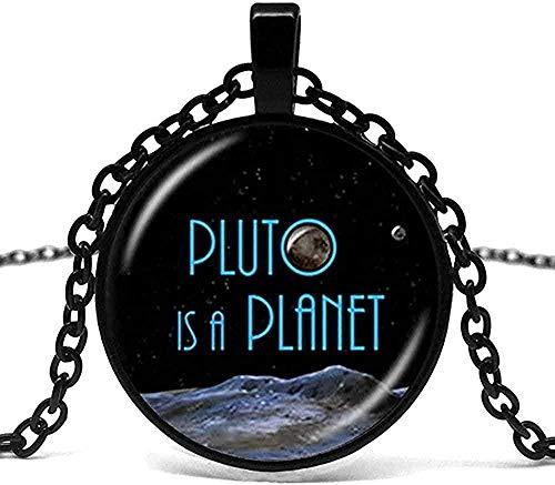 WYDSFWL Collar Collar para Hombre Plutón Estrella Bola Colgante de Cristal Collar de Galaxia Collar Espacial Plutón es un astrónomo Friki de la astronomía cósmica planetaria.Collar