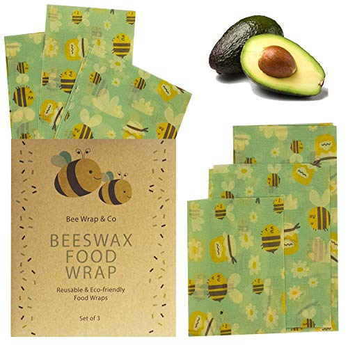 Bees Wrap Lot de 3/emballages Alimentaires Tailles Assorties Bleu