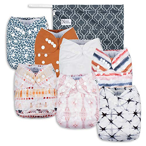 Jungle Cat Baby Cloth Pocket Diapers 7 Pack, 7 Bamboo Inserts, 1 Wet Bag by Nora's Nursery