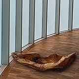 Cepewa Holzschale XL aus Teak Holz in Handarbeit gefertigt | Dekoschale | große Obstschale rund und länglich 40/60 cm (L ca. 60 cm) - 5