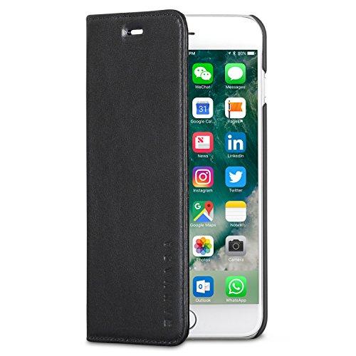 KANVASA Funda iPhone 8 Plus/Funda iPhone 7 Plus Tipo Libro Piel Negra Case Cover Carcasa Plegable Cartera Pro en Piel Auténtica Premium para Apple iPhone 8 Plus & 7 Plus - con Cierre Magnético