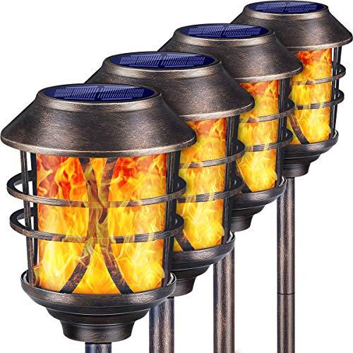 TomCare Solar Lights Metal Solar Torch Lights Flickering Flame Outdoor Lighting Decorative
