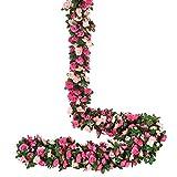 YQing 4 Piezas Artificiales Rosas Flores Guirnalda, 250cm Rosas Falsas Artificial Flor Rosa Vid Planta con Hojas de Hiedra Verde para la decoración del jardín del Banquete de Boda (Rosado)