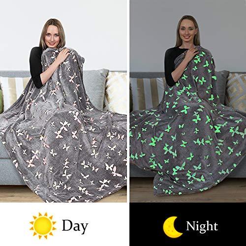 Glow in The Dark Throw Blanket,Super Soft Warm Cozy Fuzzy Plush Butterfly Pattern Blanket for Halloween Christmas Teens Kids Girls Best Friend Birthday (50 x 60 Inches)